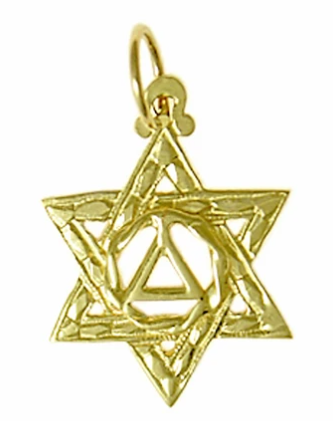 14k Gold Pendant, AA Symbol in a Jewish Star of David