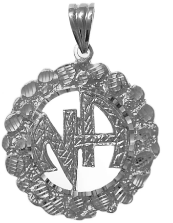 Sterling Silver Pendant, NA Initials in a Nugget Style Circle