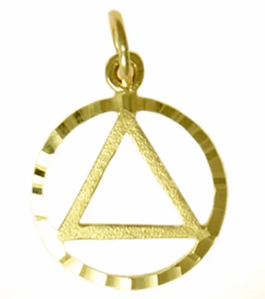 14k Gold Pendant, AA Circle Triangle in a Diamond Cut Circle