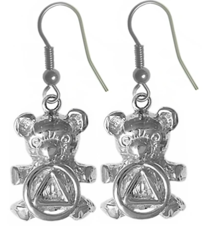 Sterling Silver Earrings, AA Recovery Symbol on a Adorable Teddy