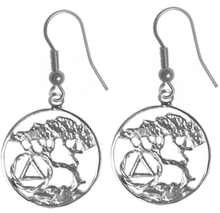 Sterling Silver Earrings, AA Recovery Symbol, Tree of Life
