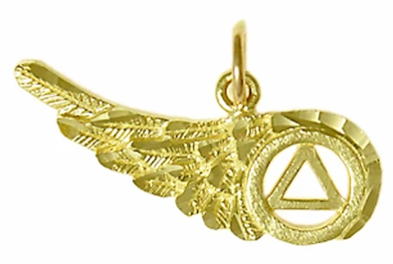 14k Gold, AA Recovery Symbol on a Beautiful Angels Wing