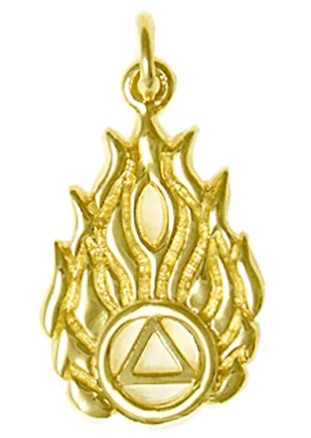 14k Gold Pendant, AA Symbol in Flames
