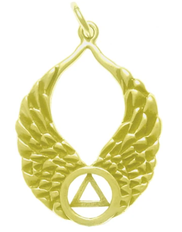14k Gold Pendant, AA Recovery Symbol on Beautiful Angel Wings