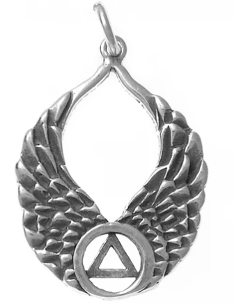 Sterling Silver Pendant, AA Recovery Symbol on Angel Wings
