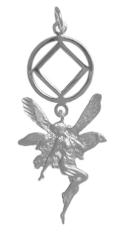 Sterling Silver Pendant, NA Recovery Symbol with a Magical Fairy