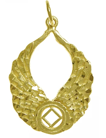 14k Gold Pendant, NA Recovery Symbol with Angel Wings