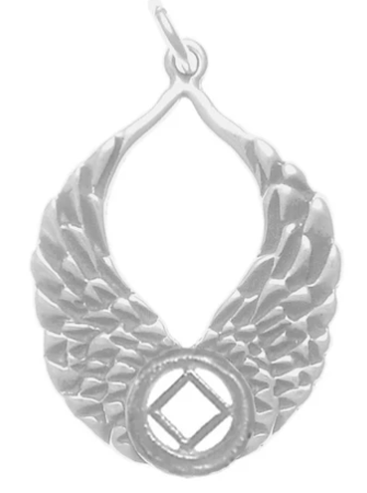 Sterling Silver, NA Recovery Symbol with Angel Wings