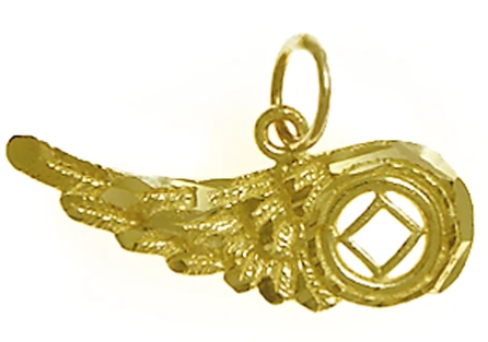14k Gold Pendant, NA Recovery Symbol on an Angels Wing