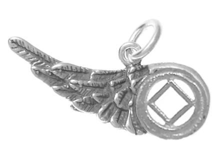 Sterling Silver, NA Recovery Symbol on an Angels Wing