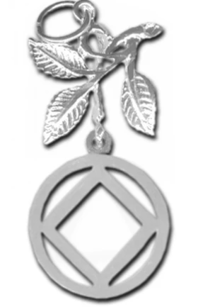 Sterling Silver Pendant, NA Symbol in a Circle with 3 Leaves