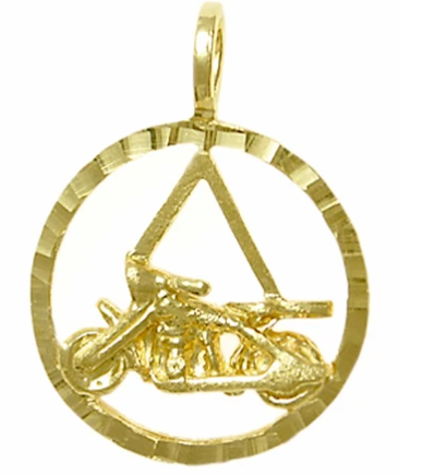 14k Gold Pendant, AA Symbol in a Diamond Cut Circle Motorcycle