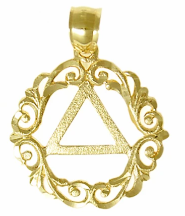 14k Gold Pendant, AA Symbol in a Scroll Style Circle
