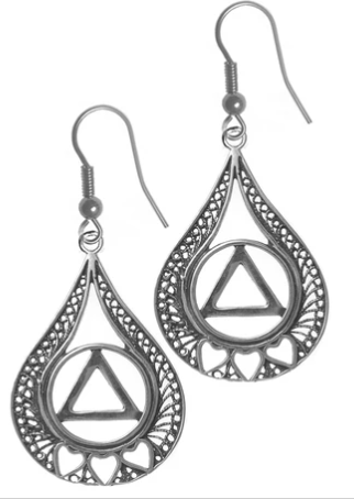 Sterling Earrings, AA Symbol with 3 Hearts in a Filigree Tear