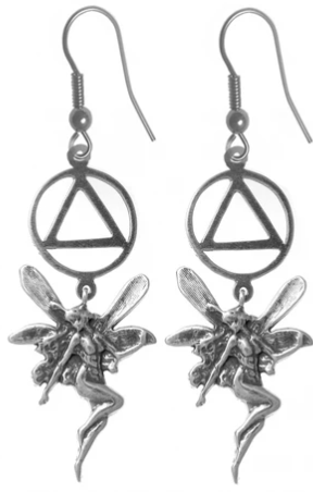 Sterling Silver Earrings, AA Recovery Symbol with a Fairy