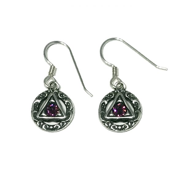 Scrolled Symbol with Amethyst Earrings