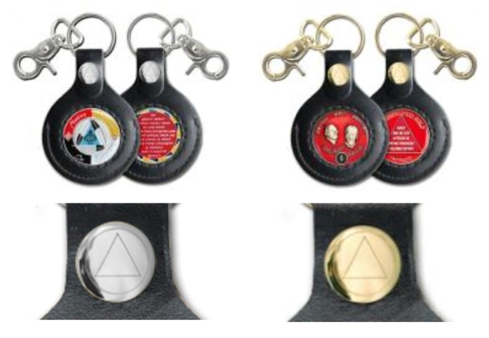 NA Two-side Key Fob  Gold or Silver finish Clasp Medallion Holder Key Chain