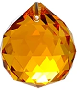 Faceted Hanging Crystal Suncatcher - Amber
