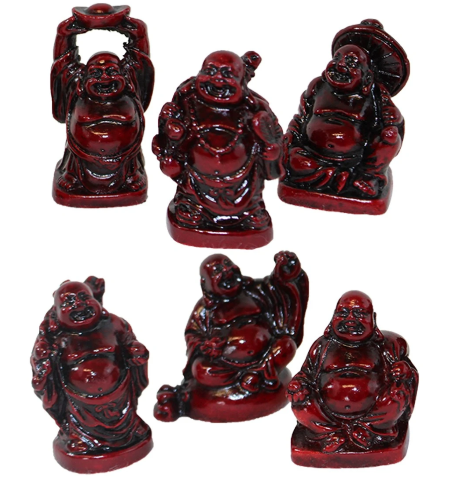 "Buddha Figurines 2"" Red Resin Set"