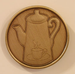 Coffee Pot Bronze Medallion