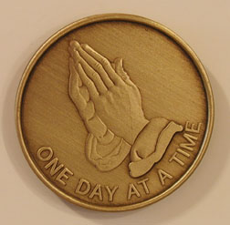 Praying Hands Polished Bronze Medallion