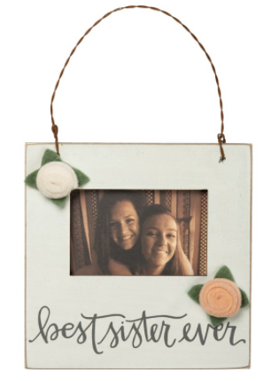 Best Sister Ever Picture Frame with Wire Wall Hanger