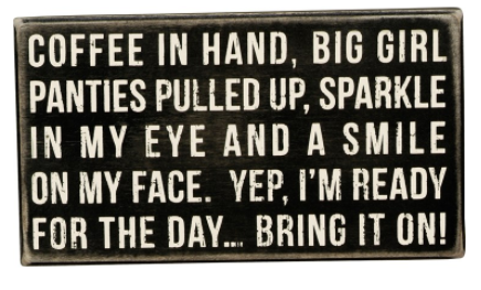 Coffee in Hand Box Sign