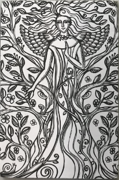 Earth Angel Wooden Coloring Postcard