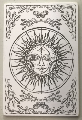 Celestial Wooden Coloring Postcard