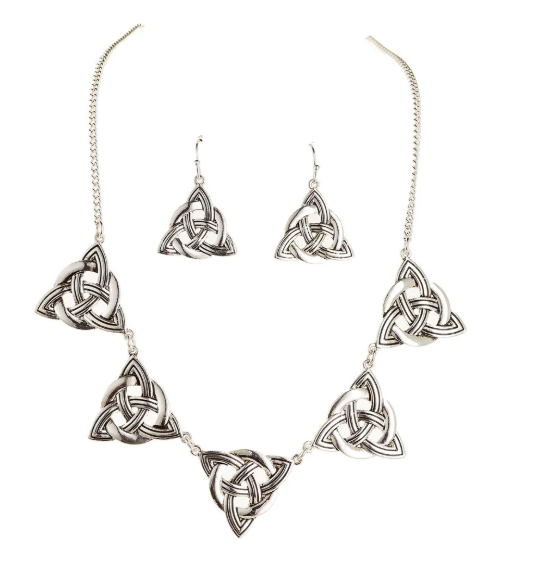 Celtic Triangles Necklace and Earring Set