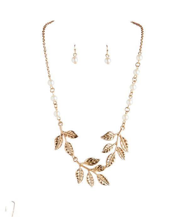 Gold Leaves Necklace and Earring Set