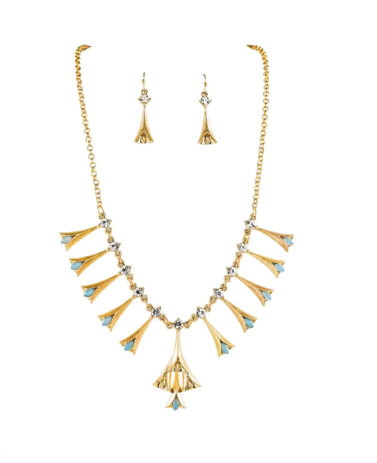 Gold Tulip Drop Necklace and Earring Set