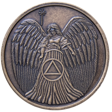 Guardian Angel AA Symbol Antique Bronze Medallion