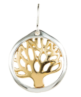 Two Tone Hammered Tree of Life Earrings