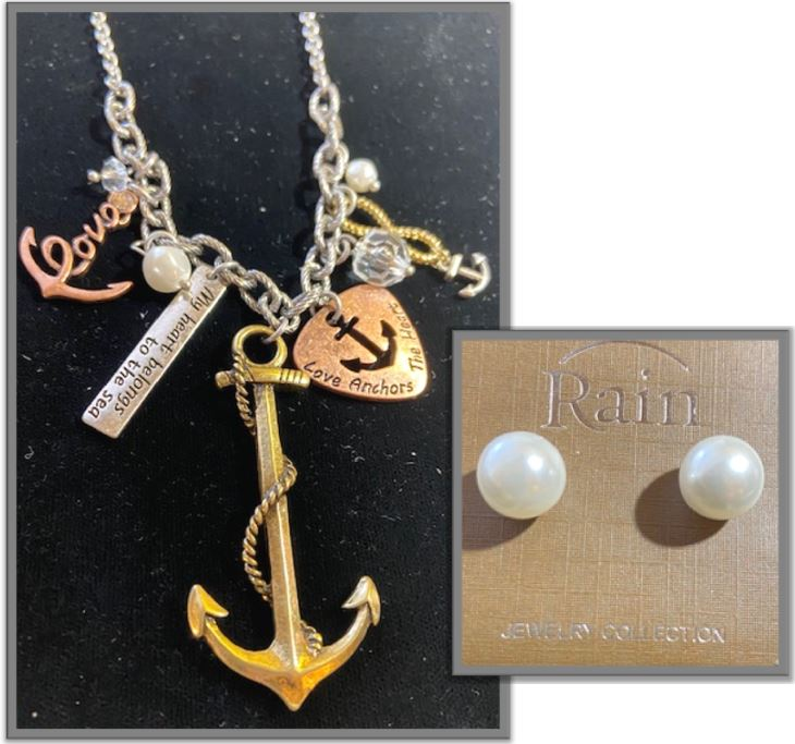 Silver Anchor Charm Necklace Set