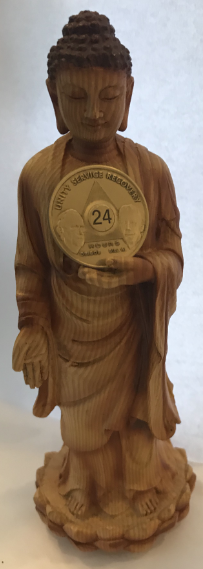 Faux Wood Standing Buddha Sculpture (Holds a Medallion!)
