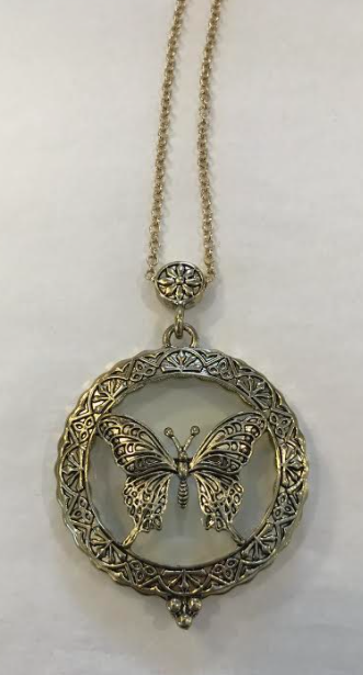 Butterfly Magnifying Glass Necklace - Gold