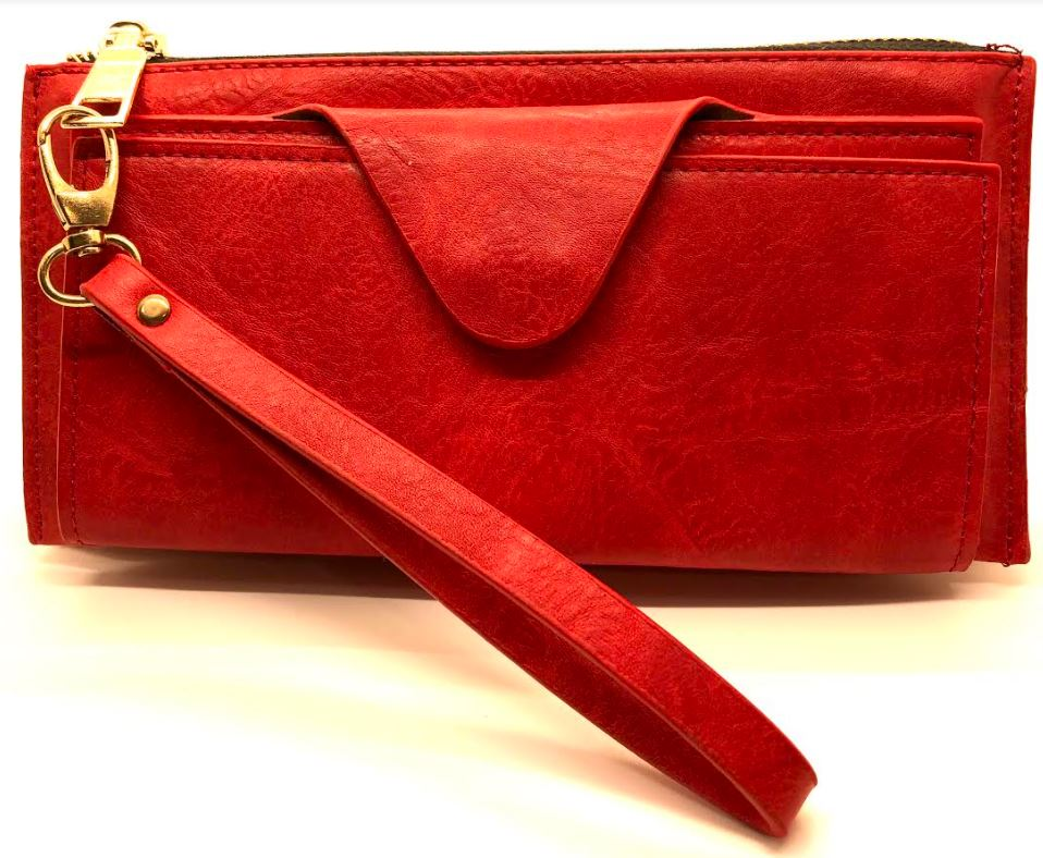 Faux Leather Clutch - RED