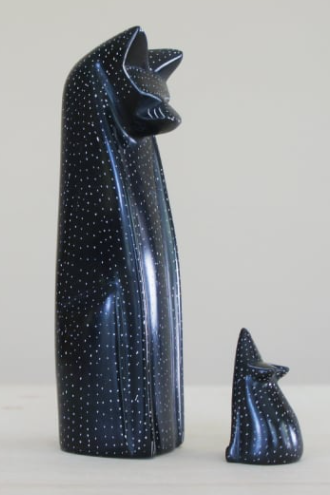 Handmade Cat and Mouse Sculpture - Black