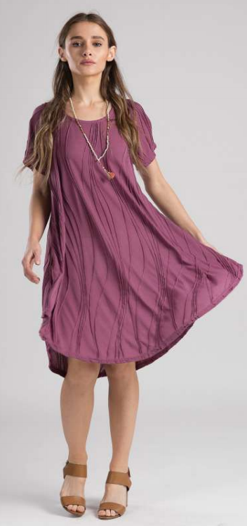 Stitched Dress with Half Sleeves - Rose