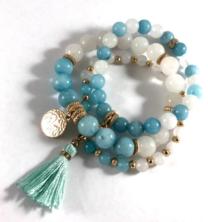 Blue Glass Beads with Tassel (Multi-Strand) Bracelet