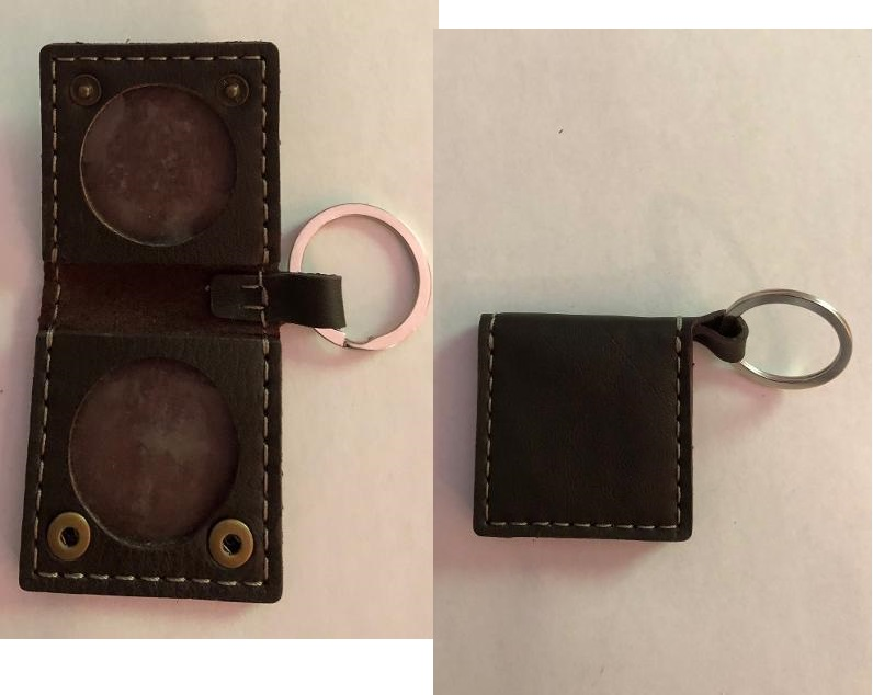 Leather Double Medallion Key Ring Square