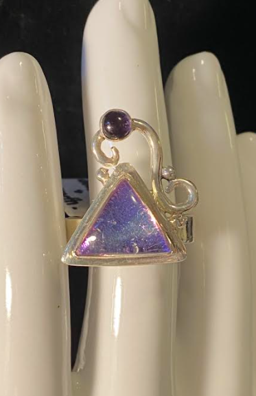 Funky Dichroic Glass and Amethyst Ring