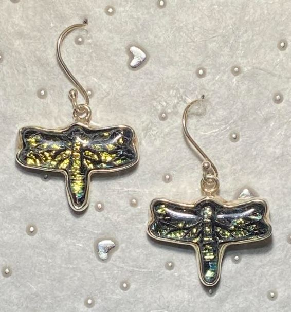 Dragonfly Dichroic Glass Earrings