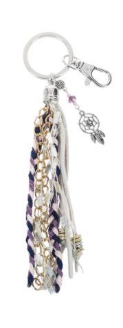 Purple and White Keyring with Dreamcatcher Charm
