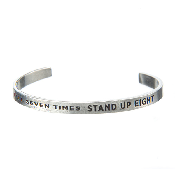 Fall Down Seven Times Pewter Cuff