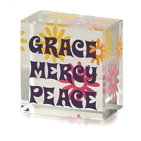 Grace Mercy Peace Glass Cube