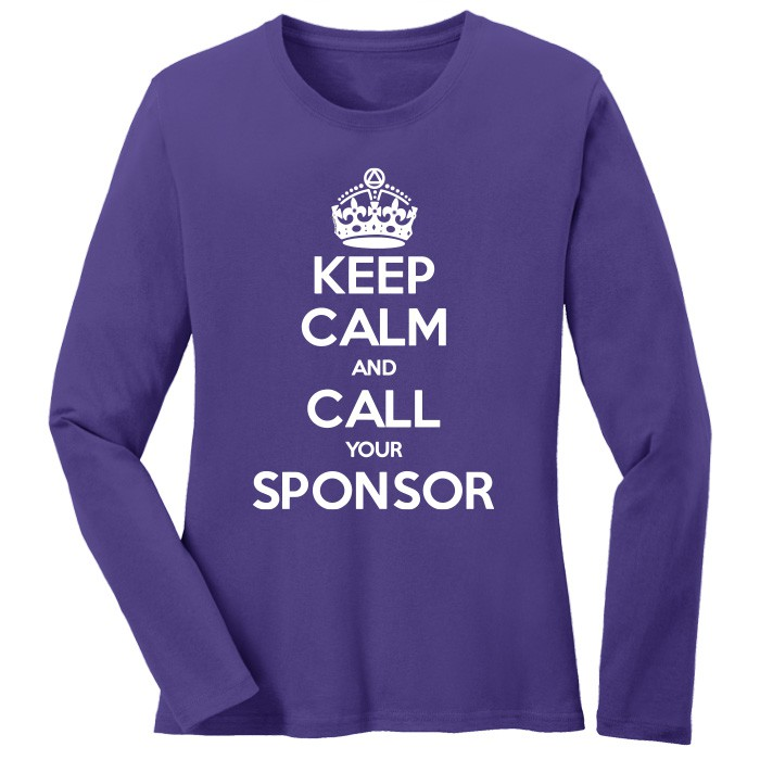 Keep Calm & Call Your Sponsor Long SleeveTee - Purple