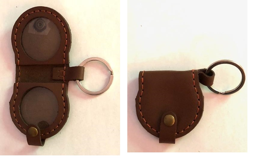 Leather Double Medallion Key Ring (Brown)