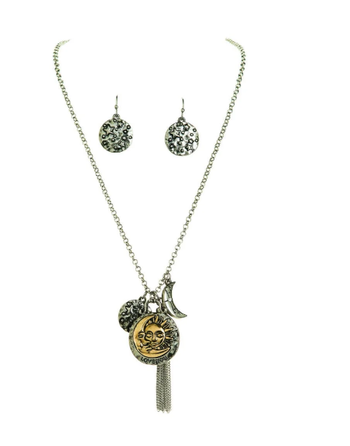 Celestial Charm Necklace and Earring Set